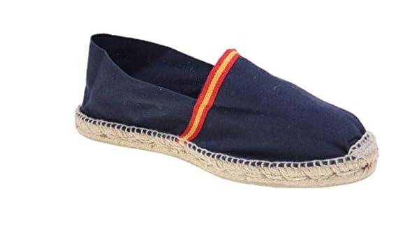 Alpargata Piso Yute y Tejido Lona Bandera ESPAÑA Made IN Spain Cosido A Mano (Marino, Numeric_46): Amazon.es: Zapatos y complementos