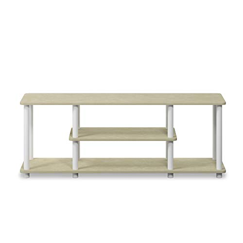 Furinno 12250R1CRM/WH Turn-N-Tube No Tools 3D Entertainment TV Stands, Round, Cream Faux Marble/Mustard (Unit Entertainment Cream)