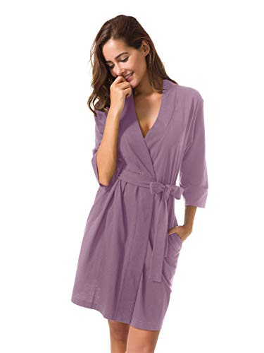 SIORO Women's Kimono Robes Cotton Lightweight Bath Robe Knit Maternity Bathrobe Soft Jersey Sleepwear V-Neck Ladies Nightwear,Dusty Purple L