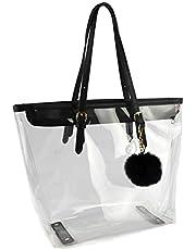 Large Clear Bag PVC Transparent Shoulder Handbag with Black Plush Pendant