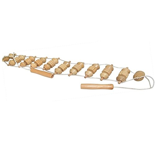 Wooden Back Massager (lolicute Wooden massager Rollers for Stimulating Back and Shoulder Massage Stress Relief (Beige))