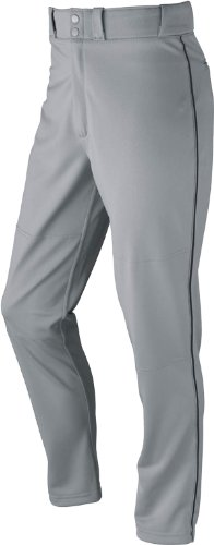 (Wilson Adult Classic Piped Polyester Warp Knit Baseball Pant Gray/Black 2XL)