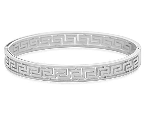 Edforce Stainless Steel Women's Greek Pattern Oval Cutout Hinged Bangle Bracelet (Silver -