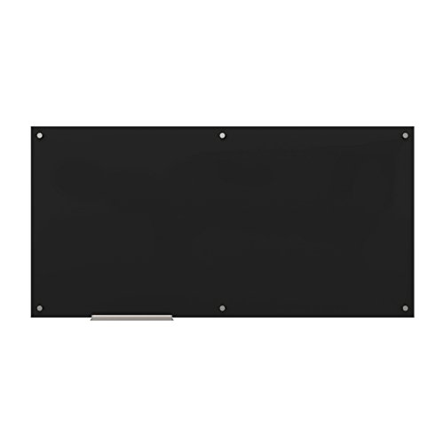 U Brands Glass Dry Erase Board, 72 x 36 Inches, Black Surface, Frameless ()