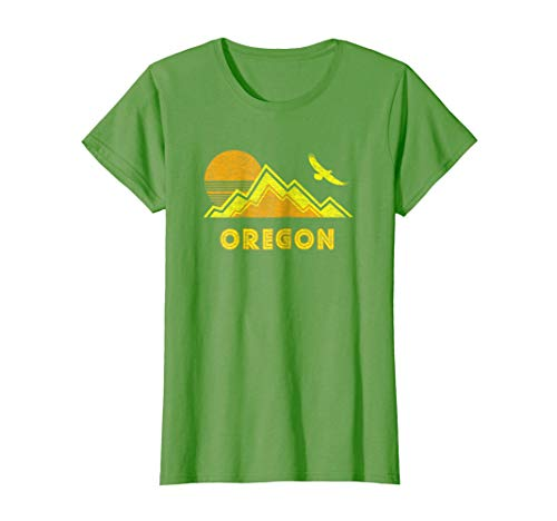 Womens Retro Oregon T-Shirt Distressed Hiking Tee Medium Grass