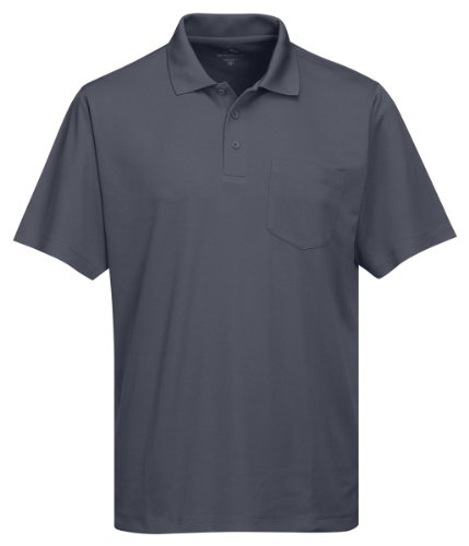 (Tri-Mountain Men's 5 oz Moisture Wicking Polyester Shirt w/Pocket Gray Large)