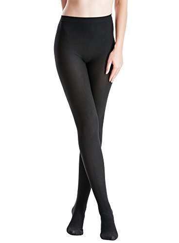 120 Denier Tights (Zeraca Women's 120D Sheer To Waist Pattern Footed Opaque Tights 1 Pack (S/M, Black 02))