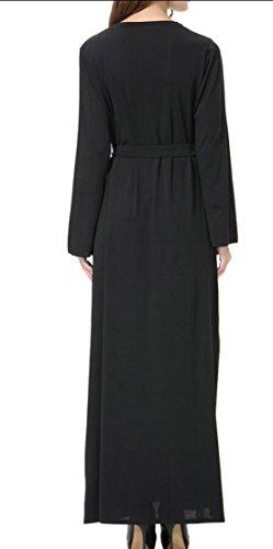 Cromoncent Sleeve Classic Long Women's Solid Long Muslim Arab Dresses Thobe Hot Black aXxaw0rq1
