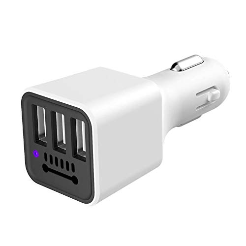 Misszhang-US Portable 3USB Port Negative Ion Ionizer Car Vehicle Charger Air Purifier Cleaner - White