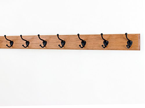 Solid Cherry Wall Mounted Coat Rack with Oil Rubbed Bronze Wall Coat Hooks - Made In the USA (Cherry 36