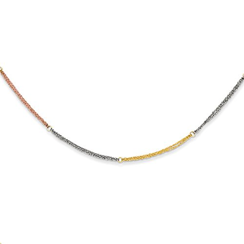 14k Tri Color Yellow White Gold Section Strands 2 Inch Extension Chain Necklace Pendant Charm Bead Station Fine Jewelry Gifts For Women For Her
