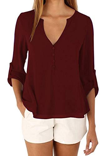 Cheryl Bull Fancy Women's ShorSleeve Casual Cold Shoulder Tops Loose Blouse,Medium,Winered1 ()