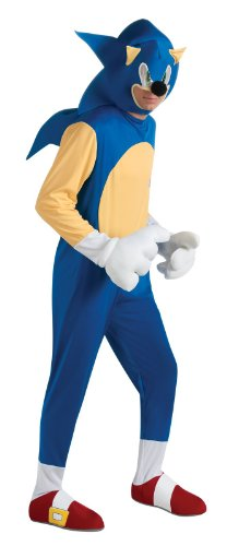 Sonic The Hedgehog Deluxe Adult Costume, Blue, Standard - Sonic Hedgehog Halloween Costumes