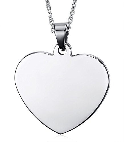 Mealguet Jewelry Free Engraving-Stainless Steel Love Heart Shape Plain ID Pendant Neckalce with Chain