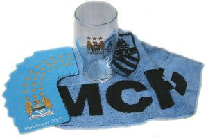 Manchester City Official Pint Glass & Bar Set by HOME WIN LIMITED