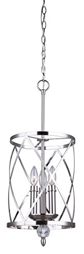 Canarm Vanessa 3 Light Chandelier with Crystal Accent – Brushed Nickel Finish