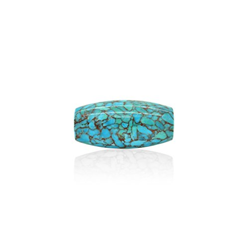 Bluejoy Genuine Natural American Turquoise Mosaic Bead Copper Infused (40mmx20mm Barrel)