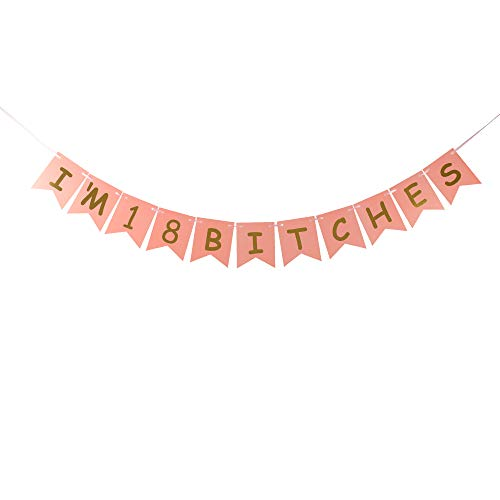 I'm 18 Bitches Banner Pink Card Gold Glitter Letters Sign for 18th Birthday Decorations Pink Card Pertlife by Pertlife