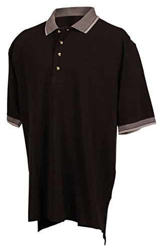 Golf Jacquard Textured - Tri-Mountain 196 Mens cotton pique golf shirt with jacquard trim - Black / Gray - M