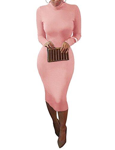 Pink Long Sleeve Dress - Dora Bridal Women's Turtleneck Long Sleeve Slim Bodycon Tight Dress,Blushing Pink,Medium