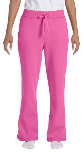 Large Azalea - Gildan G184FL - Ladies' Heavy Blend 50/50 Open-Bottom Sweatpants,Large,Azalea