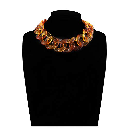 BSJELL Acrylic Link Choker Necklace Tortoiseshell Resin Chunky Chain Twist Statement Wide Collar Necklace Fashion Jewelry for Women (Tortoise)