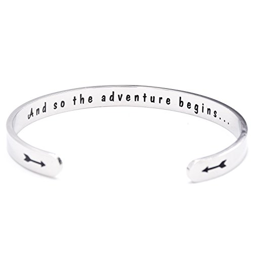 Class of 2017 2018 Gift And So the Adventure Begins Cuff Bracelet Graduation Gift (Cuff) (Graduation Gift For A Guy)