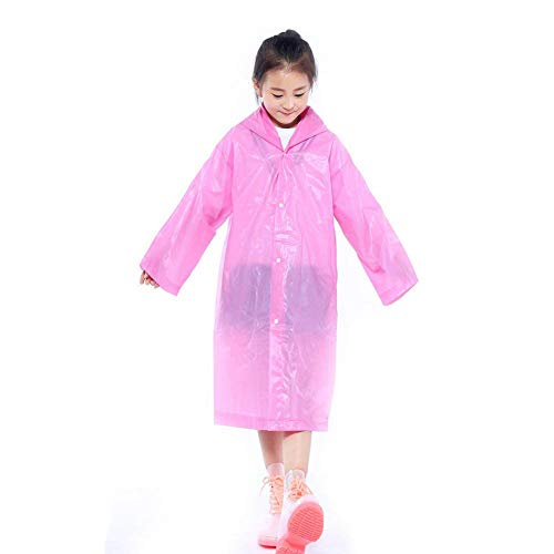 Walsilk 2Pack Emergency Rain Ponchos for Kids,Waterproof Child Raincoats with Hood and Sleeves,Portable & Lightweight (2Pink)