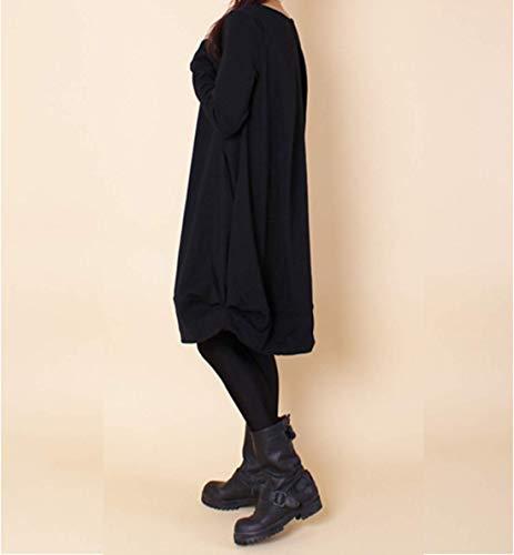 Manches Elonglin Casual Poche Femmes Simples Noir Chemisier Rond Longues Lache Tuniques Chemise Asymtrique avec Col UHpUw