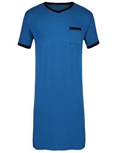 Ekouaer Mens Cotton Nightshirt Big & Tall Stripe Henley Sleep Shirt Sleepwear,Dark Blue-6717,Large by Ekouaer