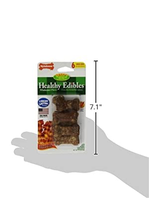 Nylabone Healthy Edibles Mini Bacon Flavored Dog Treat Bones, 6 Count