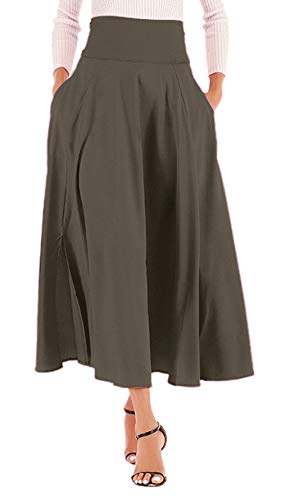 High Waisted Aline Skirt, Womens Front Slit Pleated A Line Long Maxi Skirt (Olive Grey, L)