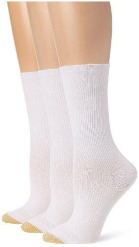Gold Toe Women's 3 Pair Premium Cotton Non Binding Crew Sock, White, 9-11