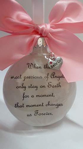 (Baby Girl Memorial Ornament - The Most Precious of Angels w/Charm - In Memory of Infant Loss Sympathy Gift)