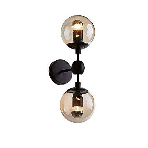 Cimic Retro Golden Teak Glass Globe Shade Wall Sconce Light E26 Black Indoor Wall Lamp (2 Lights)