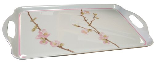 - Corelle Coordinates by Reston Lloyd Melamine Rectangular Serving Tray with Handles, Cherry Blossom