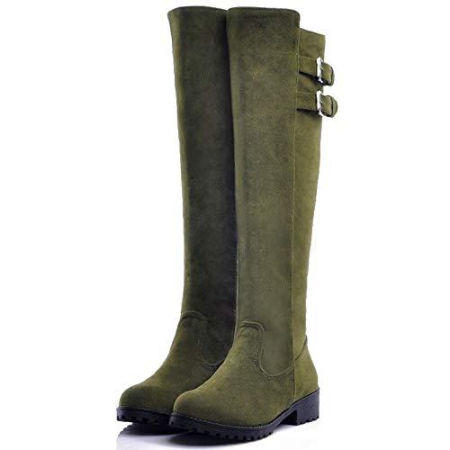 Stivali verde Ginocchio Casual Tacchi 1 Scarpe Bassi Donne Melady Invernali w4Hz6I6x