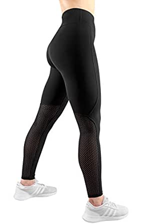 Aimo Sport Workout Leggings-Running Leggings-High Waisted Leggings-Pocket Tights (xs, Black with Mesh - Back Side)