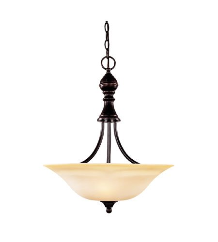 Savoy House 7-1709-3-13 Pendant with Cream Faux Marble Shades, English Bronze Finish
