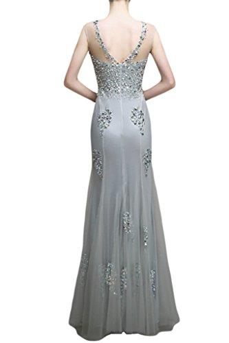 Victory bridal magnifique pierres gris hundkragen femme fine longue abendkleider partykleider court traîne