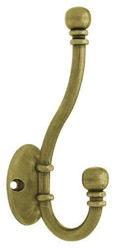 Liberty B46305Q-AB-C5 Ball End Coat and Hat Hook, Antique - Hat Hook Brass