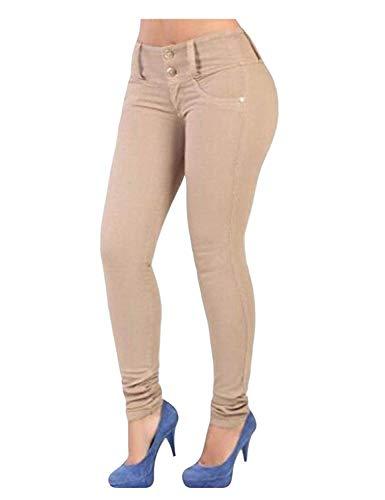 Ajustados Para Cintura Casual Modernas Damas De Con Estiramiento Delanteros Bolsillos Haidean Pantalones Del Khaki Vaqueros Alta Lápiz Botones 17nqAtq4