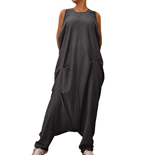 rnity Pleated Tank Top Loose Jumpsuits Overalls Casual Harem Pants Wide Leg Swing Hem Plus Trousers ()