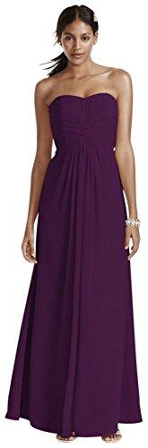 (Long Strapless Chiffon Bridesmaid Dress and Pleated Bodice Style F15555, Plum, 12)