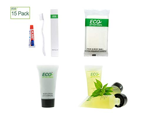 (ECO Amenities Hotel Soap, Body Lotion, Mini Size Shampoo and Conditioner and Disposable Toothbrush with Toothpaste 4-Piece Hotel Toiletries in Travel Size for Guest, 15 Pack)