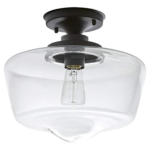 Glass Pendant Light Fixture - Stone & Beam Schoolhouse Semi-Flush Mount Ceiling Fixture With Light Bulb And Clear Glass Shade - 11 x 11 x 10.5 Inches, Matte Black