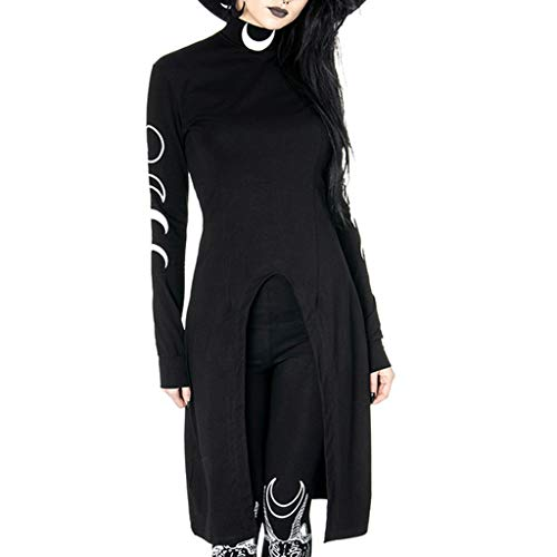 Gothic Bodysuit,MILIMIEYIK Women's Gothic Cosplay Dress Vintage Celtic Long Sleeve Irregular Hem Length Renaissance Dress Black]()