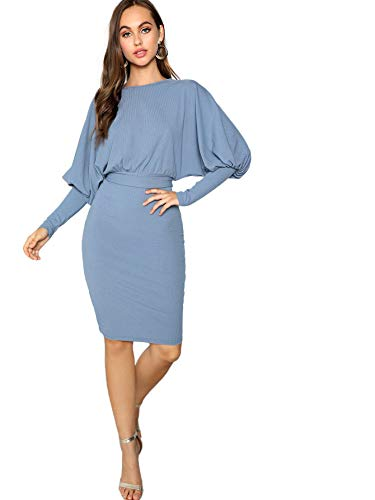 (Floerns Women's Long Sleeve Casual Belted Knitted Pencil Dress Blue)