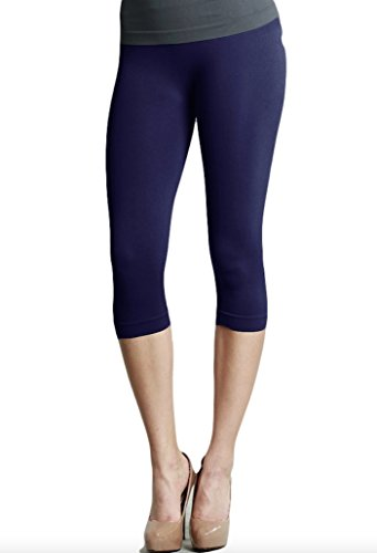 Nikibiki 3/4 Smooth Crop Leggings (Navy),Navy,One Size