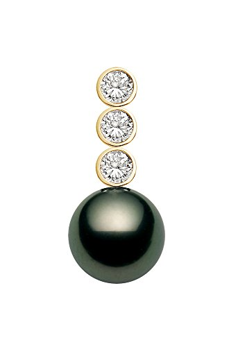 - 18k Yellow Gold AAAA Quality Black Tahitian Cultured Pearl Pendant with Diamonds (12-13mm)